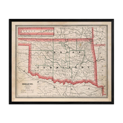 Indian Territory (Oklahoma) 1883 Map