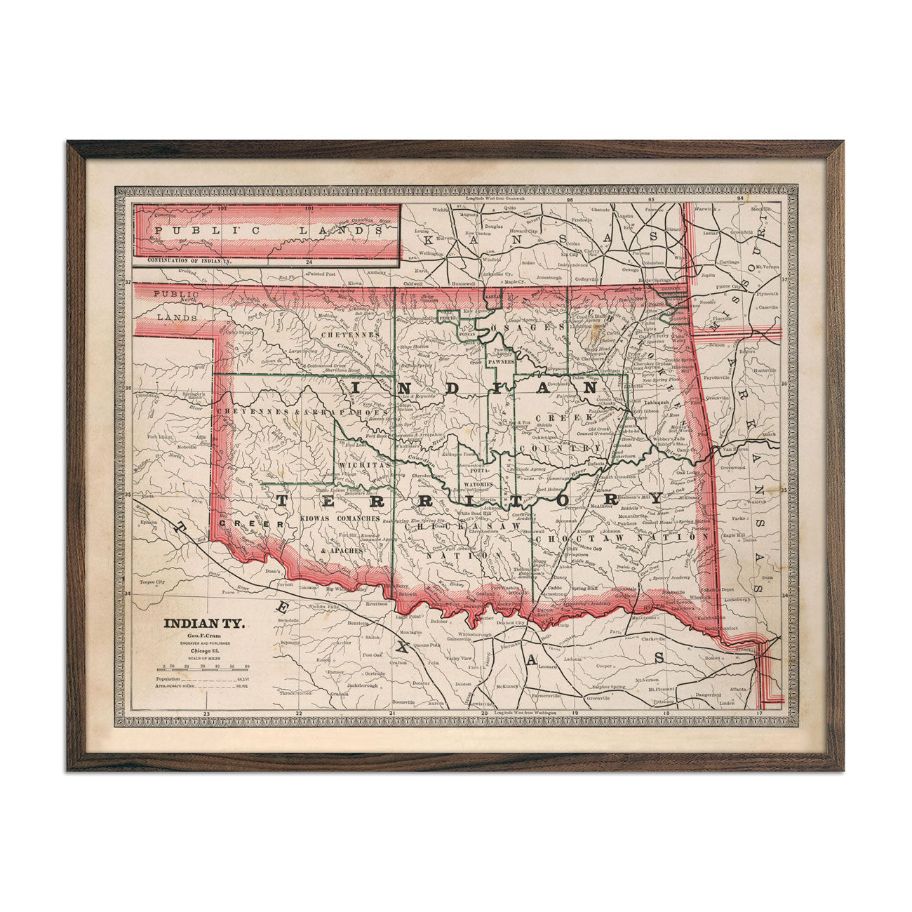 Vintage Map of Indian Territory (Oklahoma) 1883