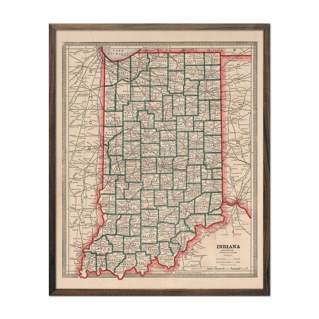 Vintage Map of Indiana 1883