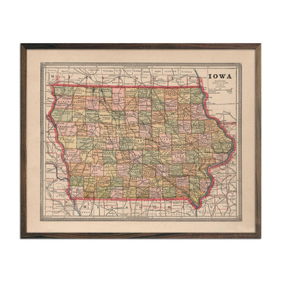 Vintage Map of Iowa 1883