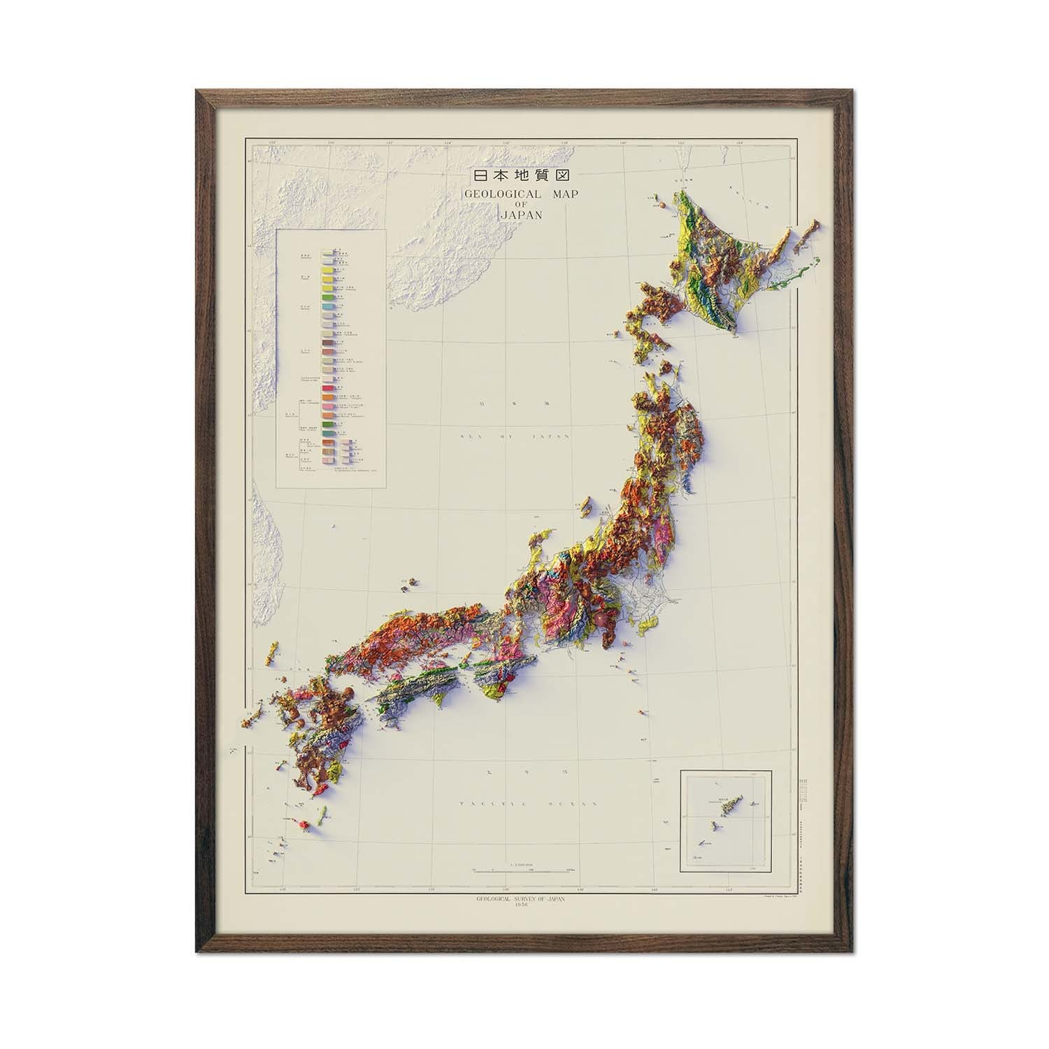 Japan 1956 Relief Map