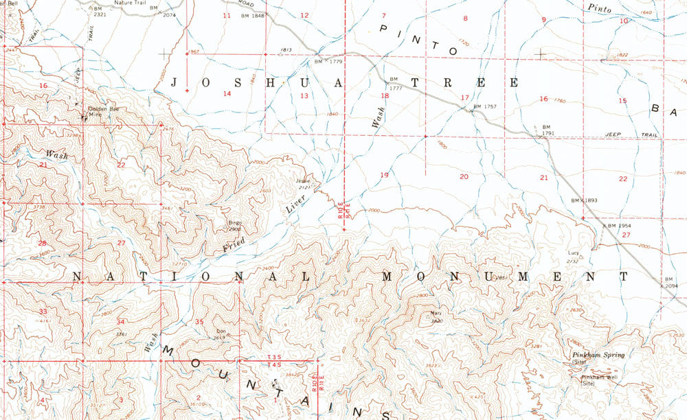 Joshua Tree Topographic Map.Joshua Tree National Park 1963 Usgs Map Muir Way