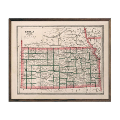 Vintage Map of Kansas 1883