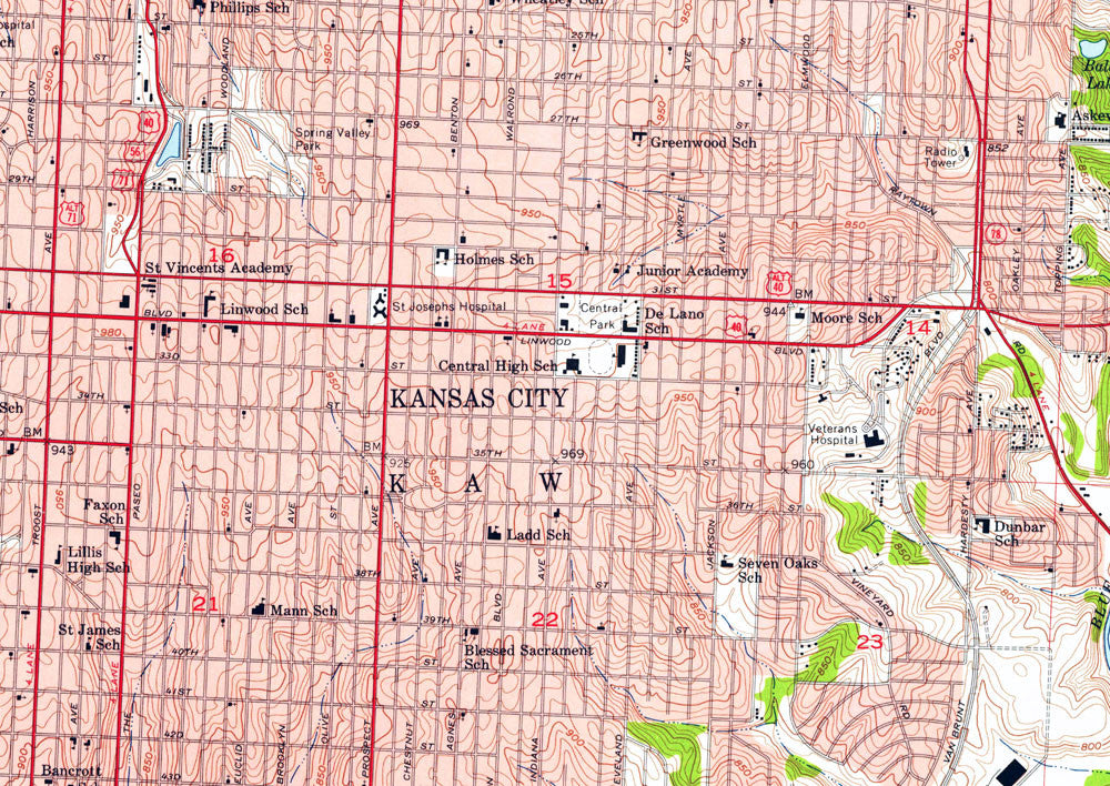 Kansas City, MO/KS 1957 USGS Map - Muir Way