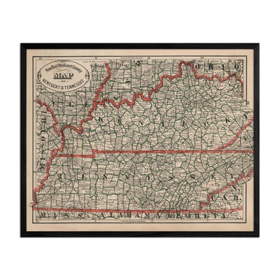 Kentucky and Tennessee 1883 Map