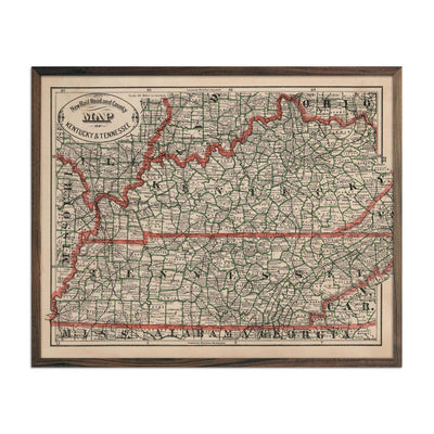 Vintage Map of Kentucky and Tennessee 1883