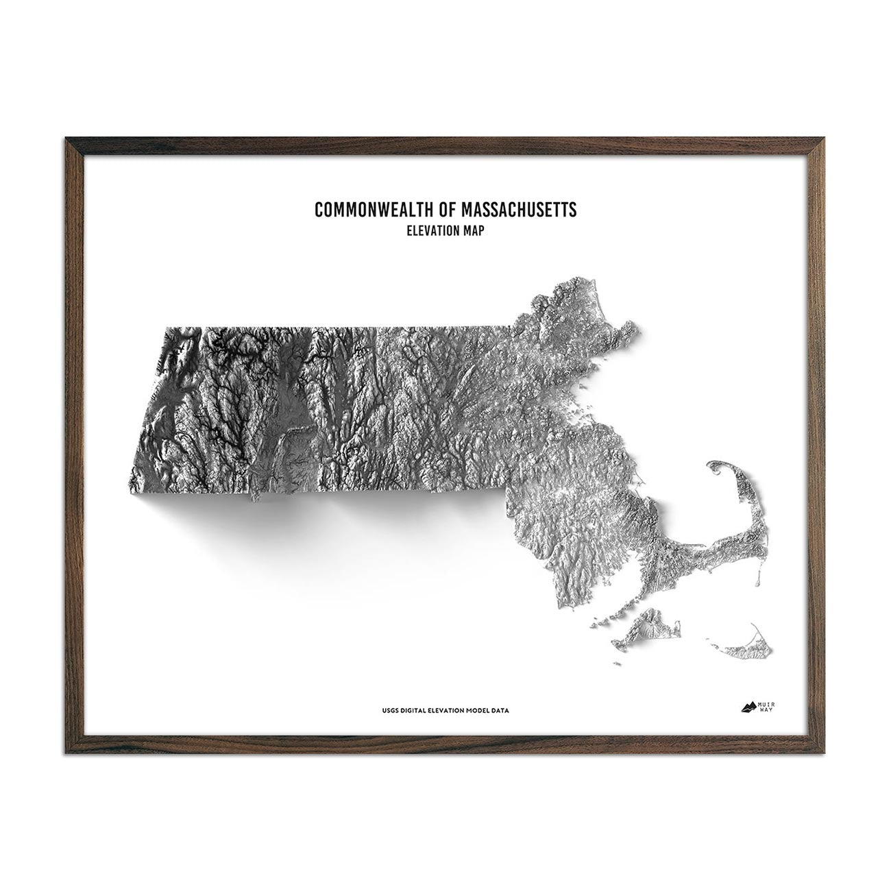 Massachusetts Elevation Map