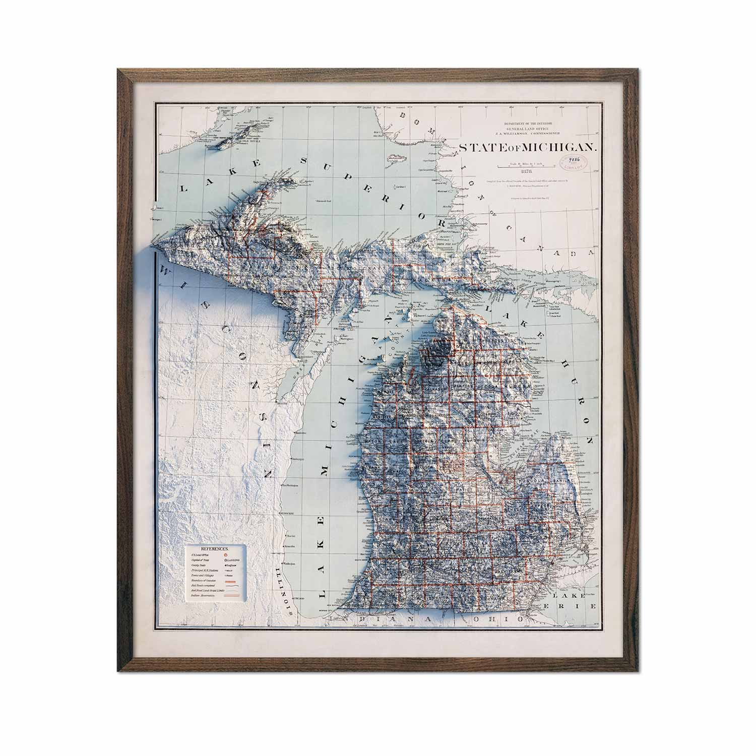 Michigan 1878 Relief Map