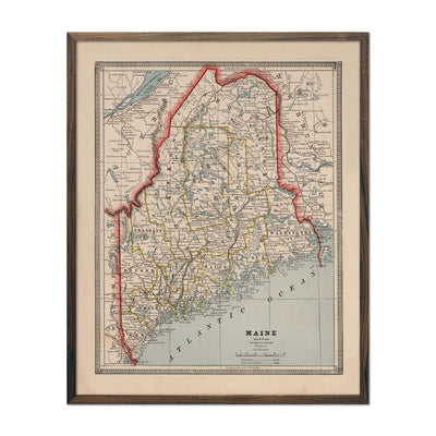 Vintage Map of Maine 1883