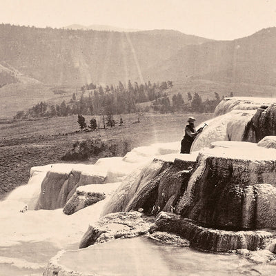 Mammoth Hot Springs on Gardiner's River with Man, Yellowstone 1873