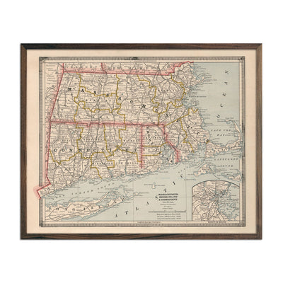 Vintage Map of Massachusetts, Rhode Island and Connecticut 1883