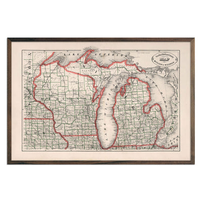 Vintage Map of Michigan and Wisconsin 1883