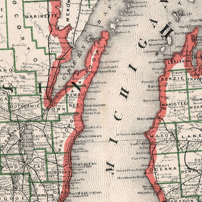 Michigan and Wisconsin 1883 Map