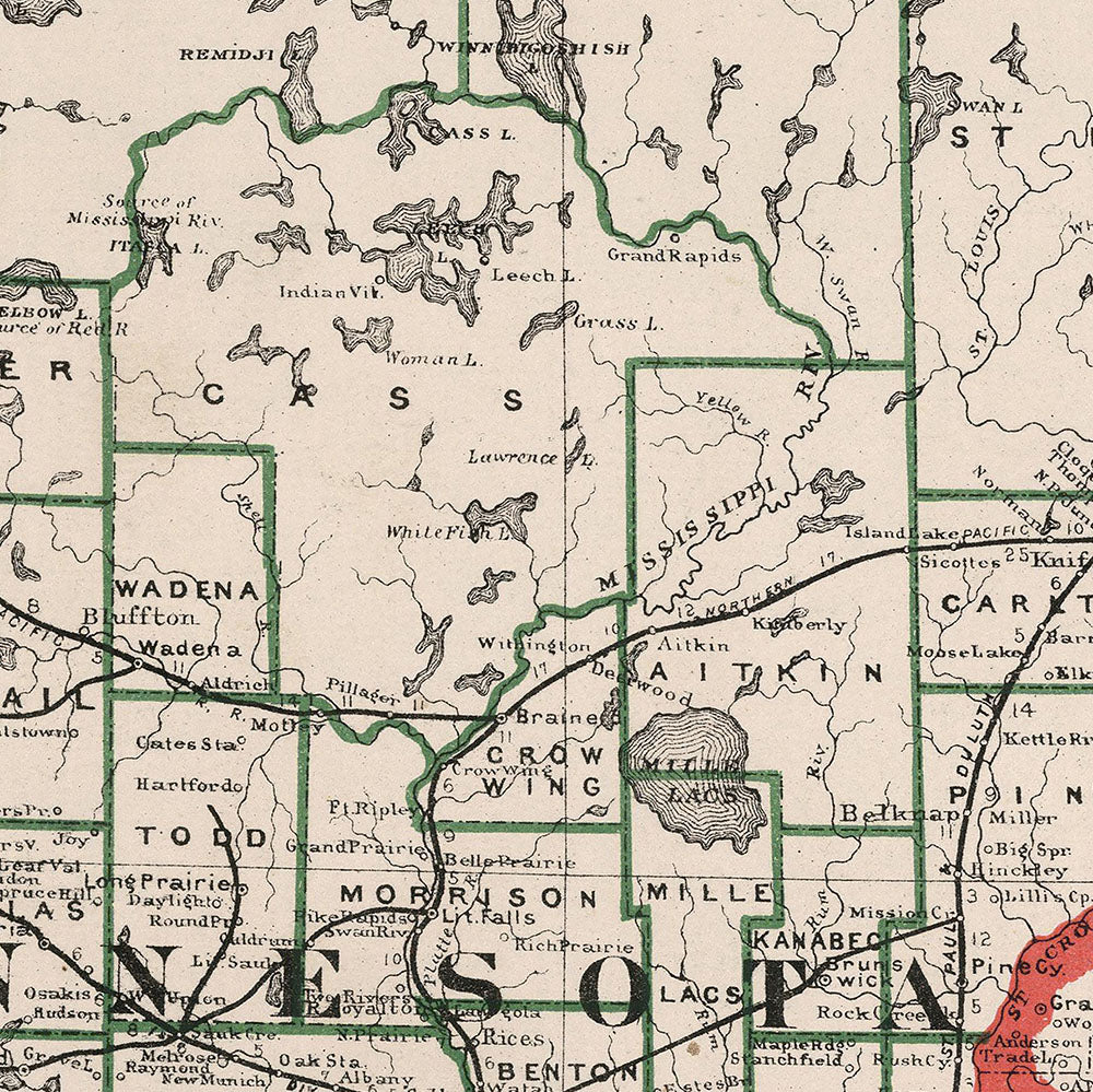 photo about Printable Maps of Minnesota called Minnesota 1883 Map