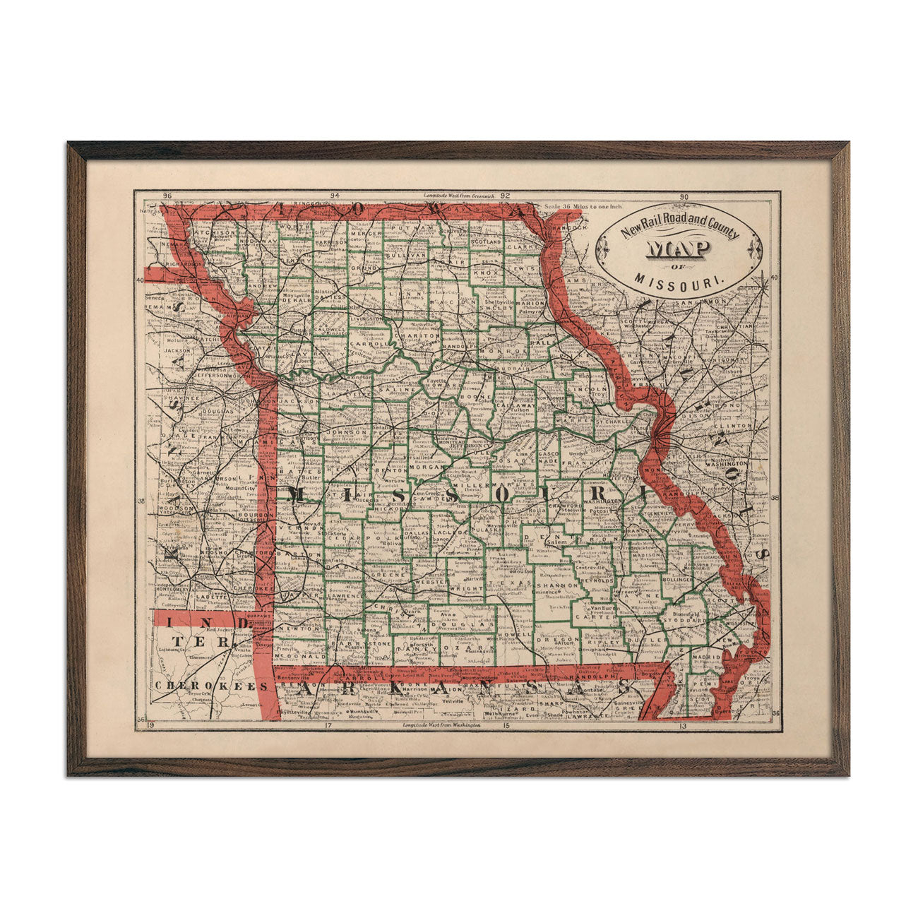 Vintage Map of Missouri 1883