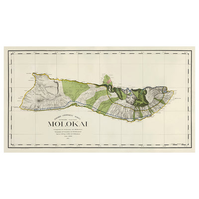 Vintage Map of Molokai from 1906