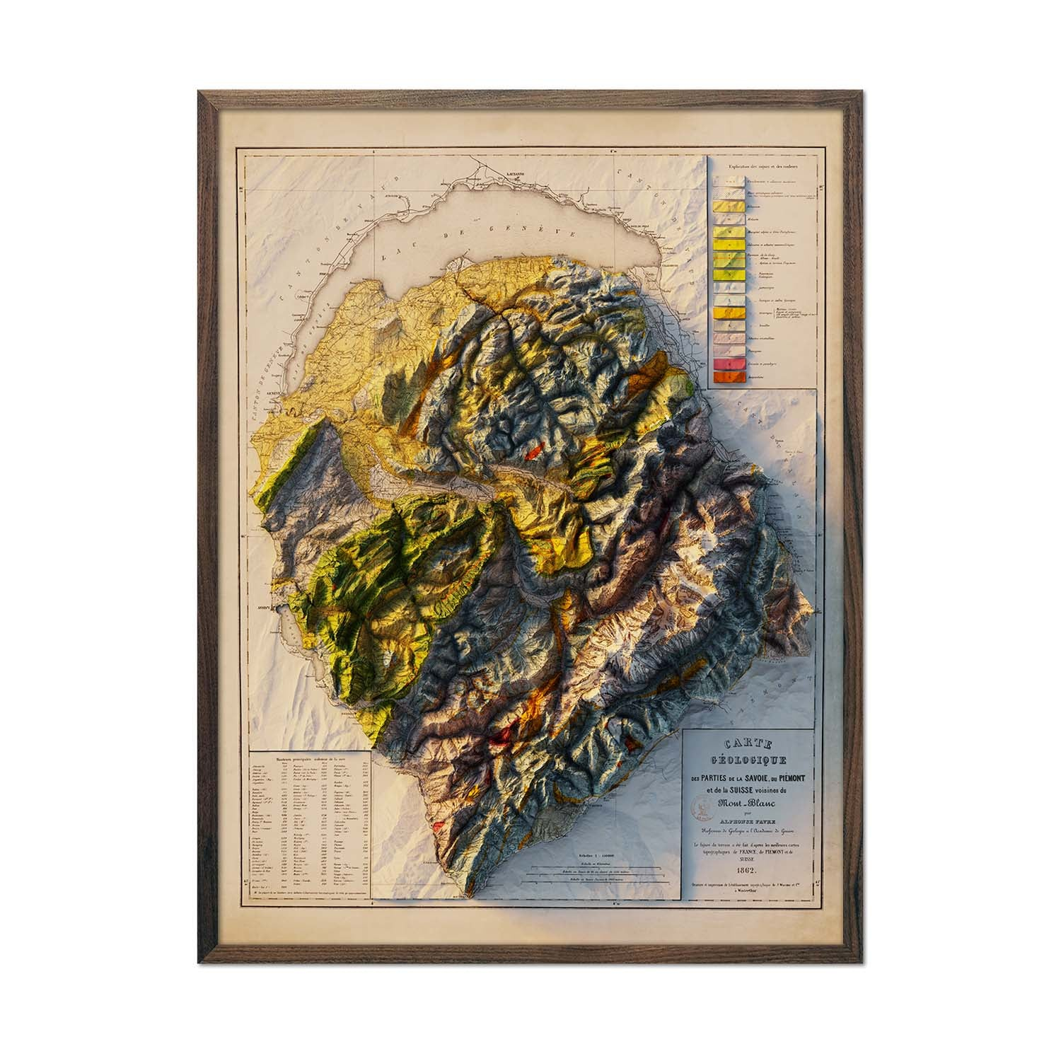 Mont Blanc 1862 Relief Map