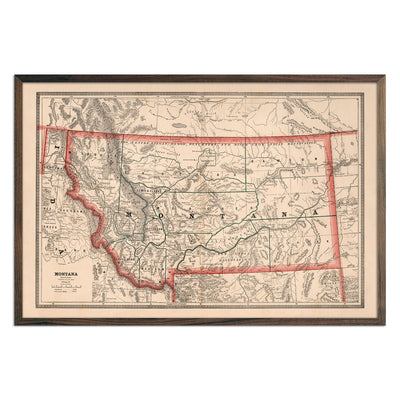 Vintage Map of Montana 1883