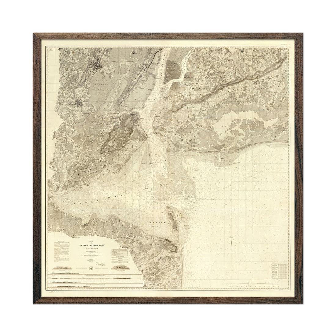 New York Bay and Harbor 1844 Map