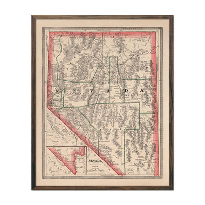 Vintage Map of Nevada 1883