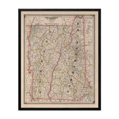 New Hampshire and Vermont 1883 Map