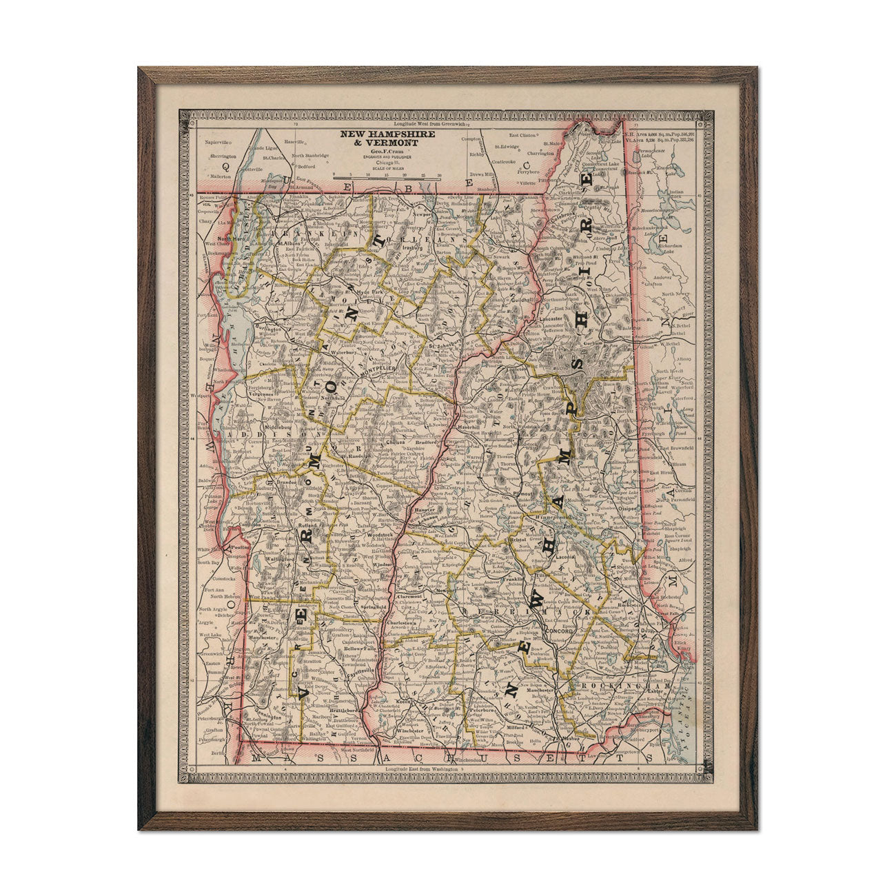 Vintage Map of New Hampshire and Vermont 1883
