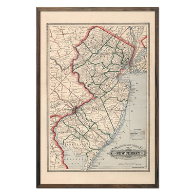 Vintage Map of New Jersey 1883