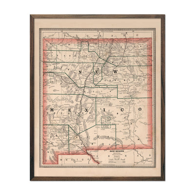 Vintage Map of New Mexico 1883