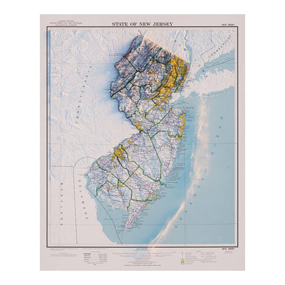 New Jersey 1974 Relief Map