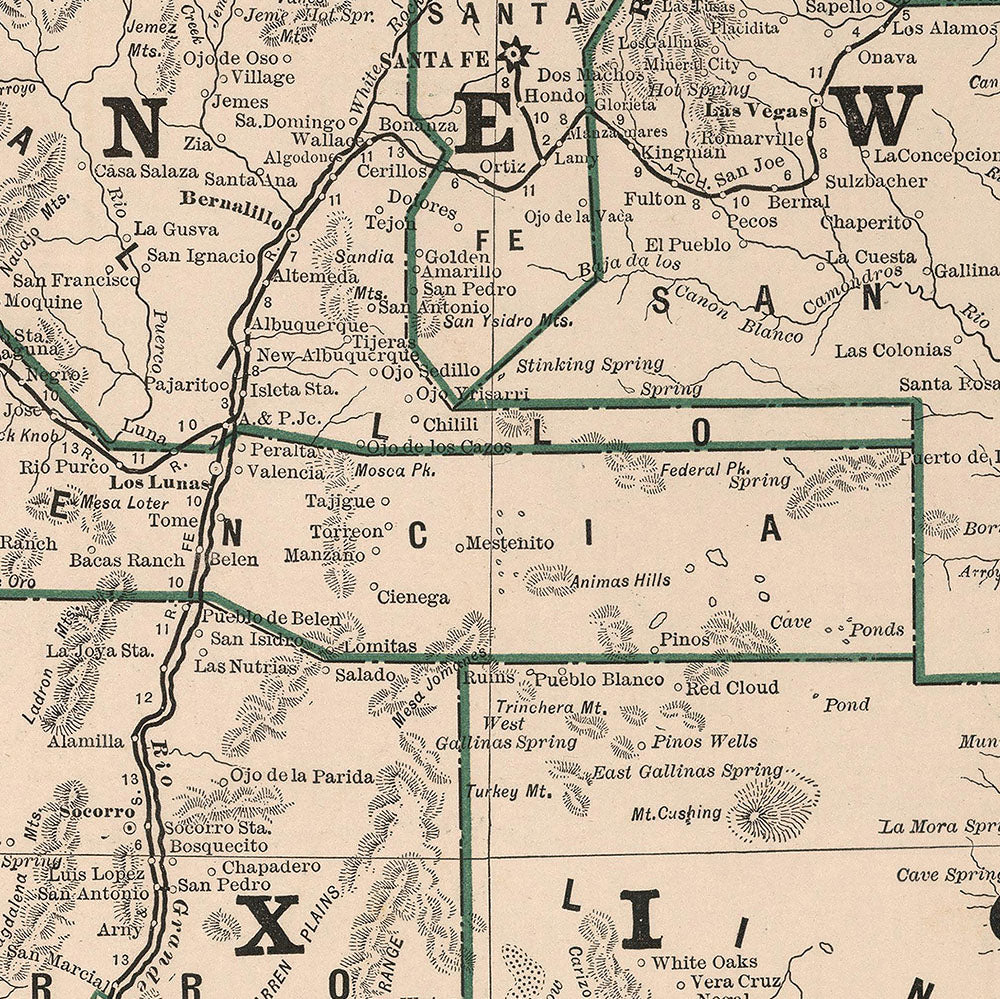 New Mexico 1883 Map