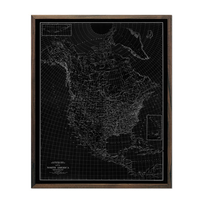 North America 1912 USGS Map Black