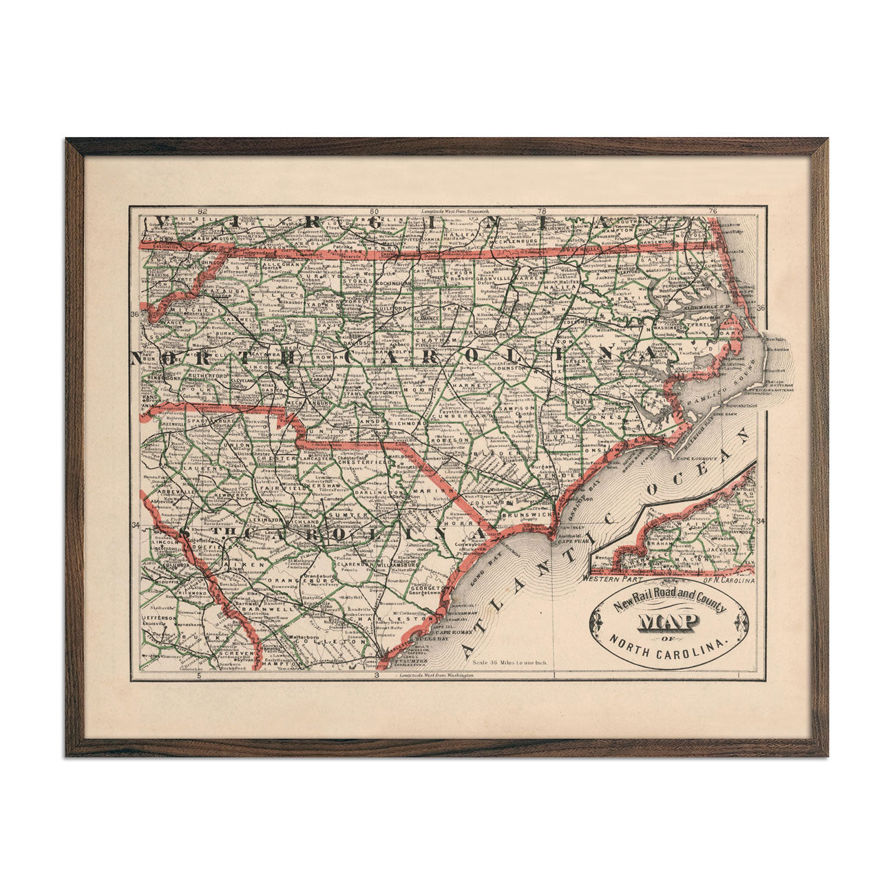 Vintage Map of North Carolina 1883