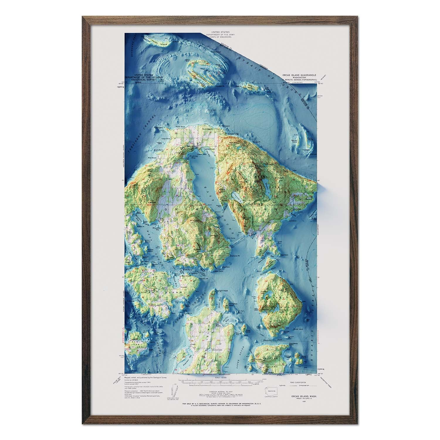 Orcas Island, WA 1957 Relief Map