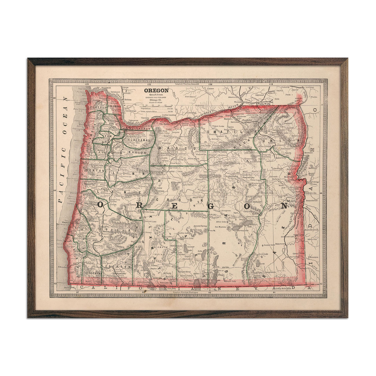 Vintage Map of Oregon 1883