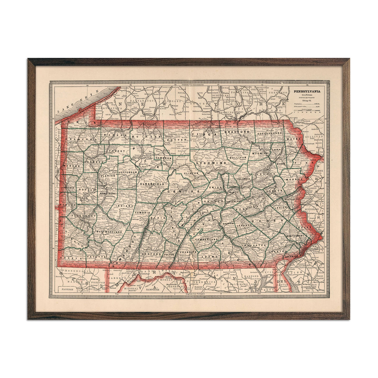 Vintage Map of Pennsylvania 1883
