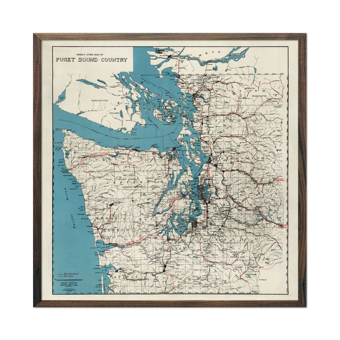 Vintage Puget Sound Map - Country Map 1919