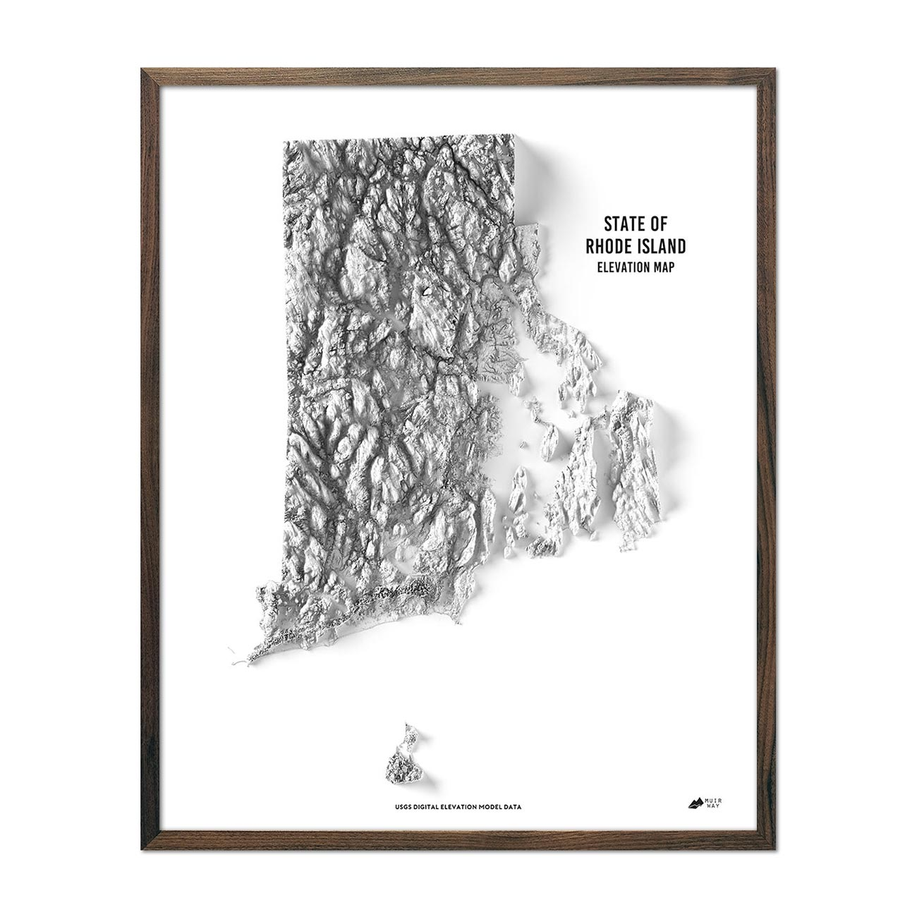 Rhode Island Elevation Map