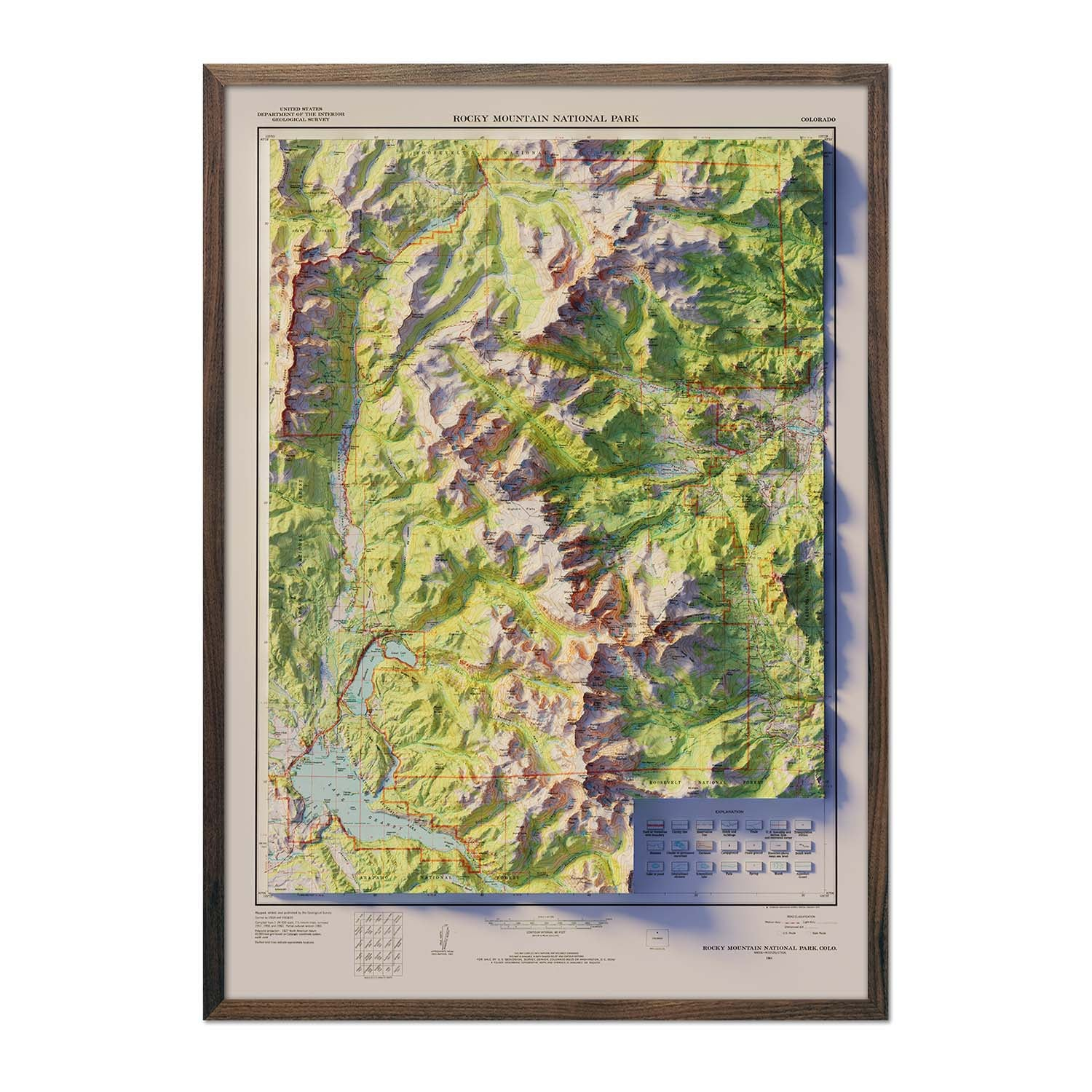Vintage Rocky Mountain National Park Relief Map - 1961