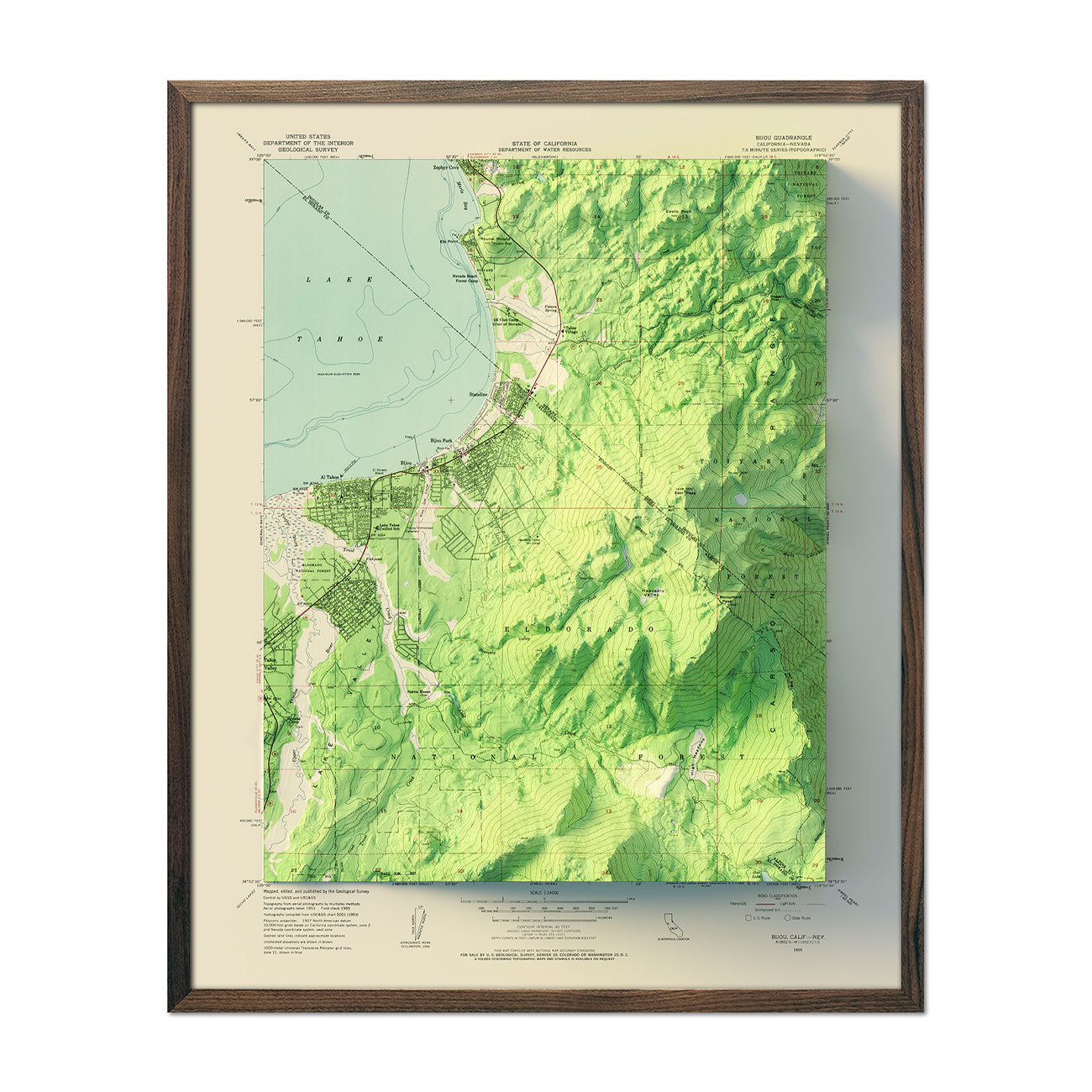 South Tahoe, CA 1955 Relief Map
