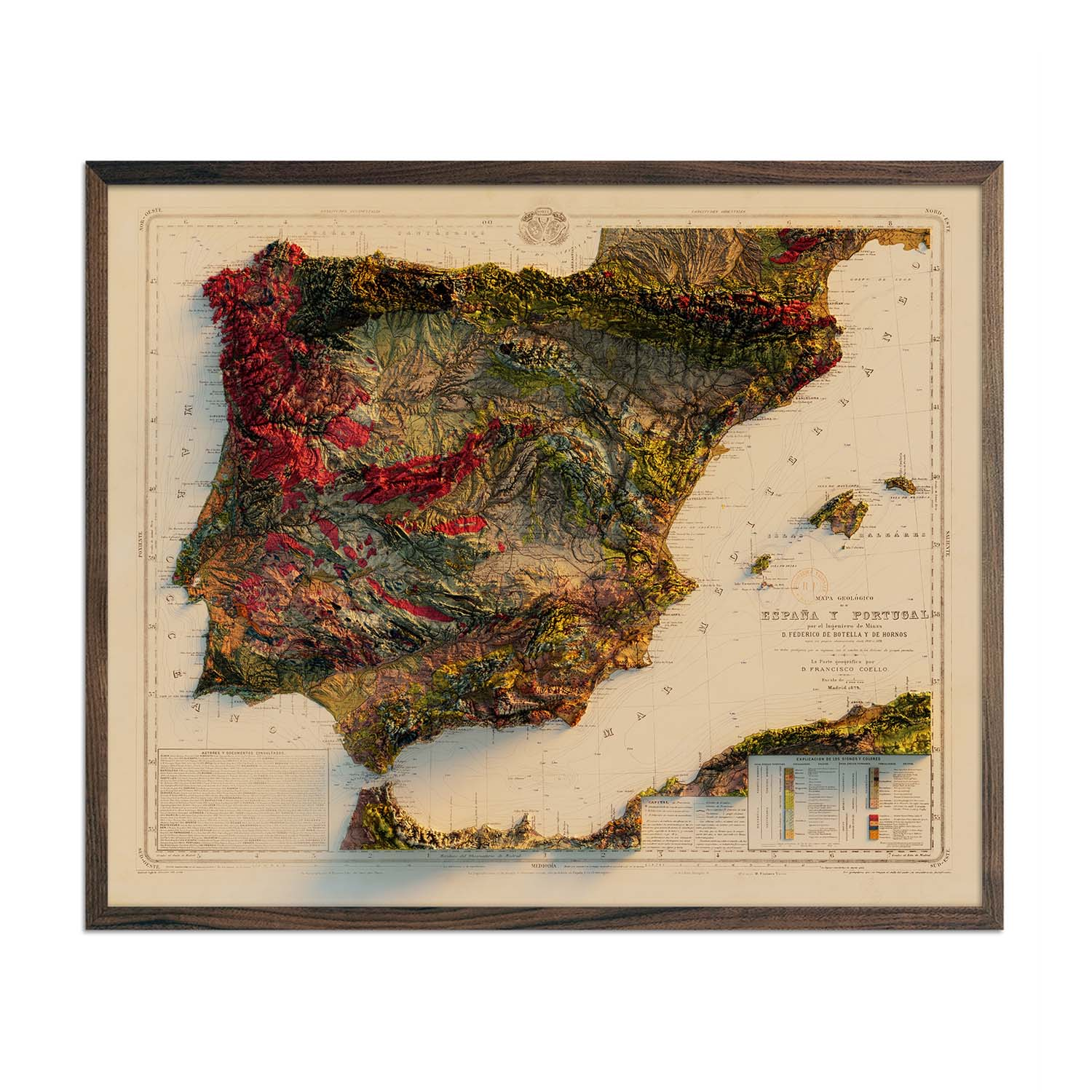 Spain and Portugal 1879 Relief Map
