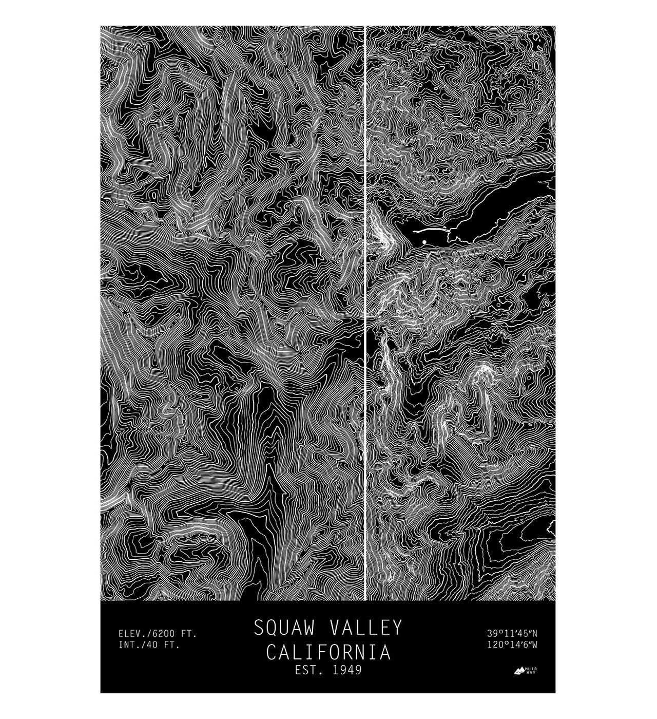 Squaw Valley, California-TOPO Series Map - Muir Way on