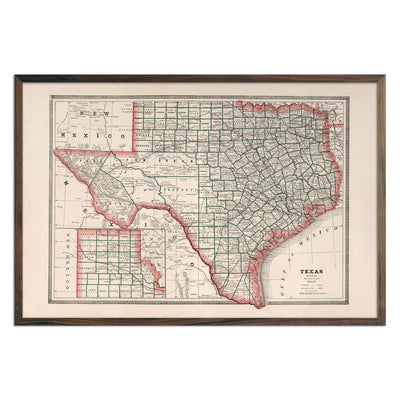 Vintage Map of Texas 1883