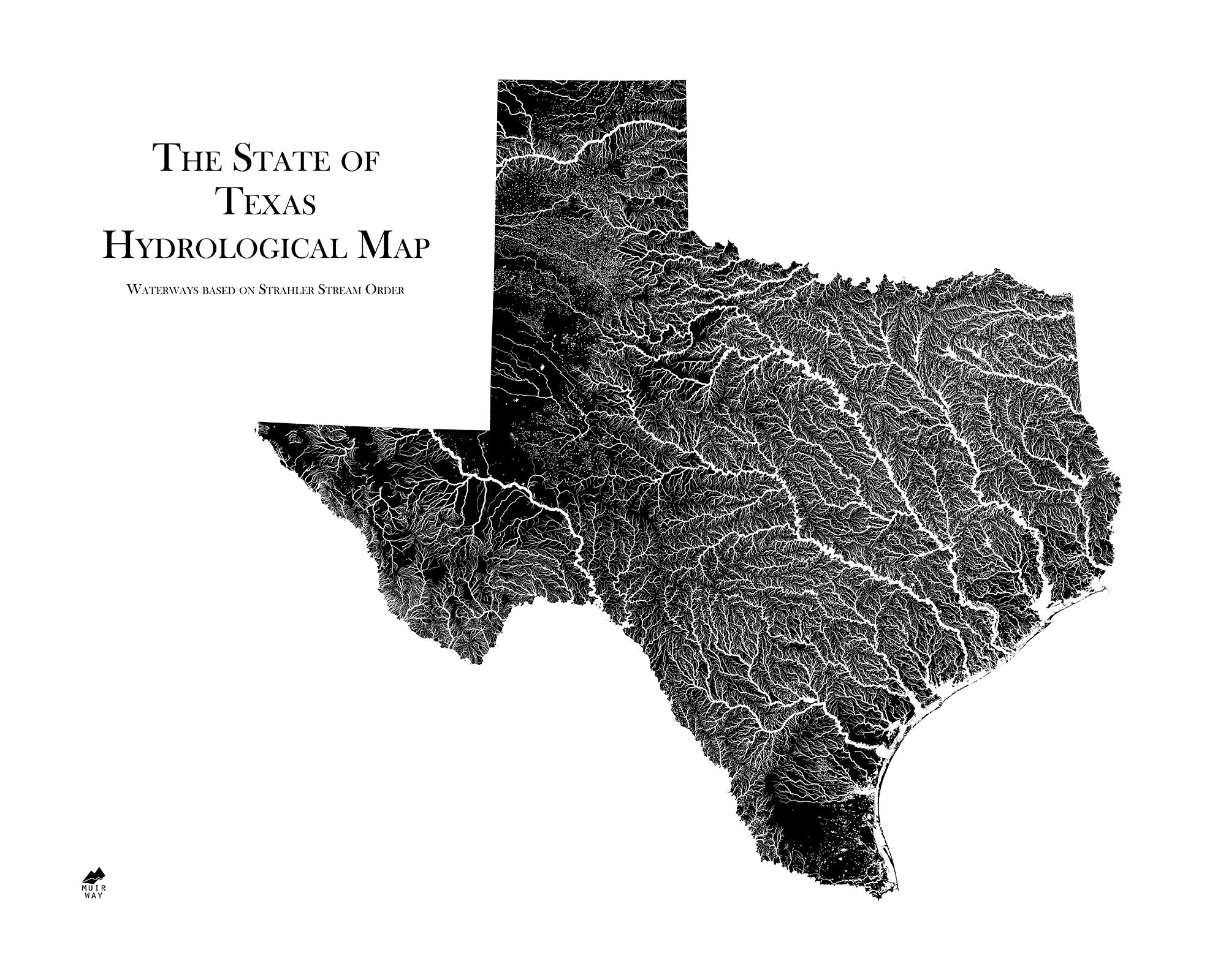 A Map Of The State Of Texas.Texas Hydrological Map