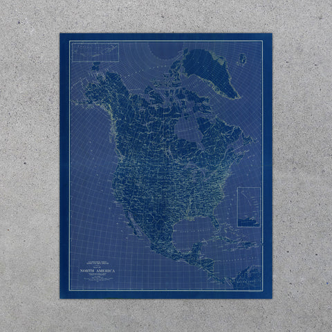 North America Map 1912-Blue