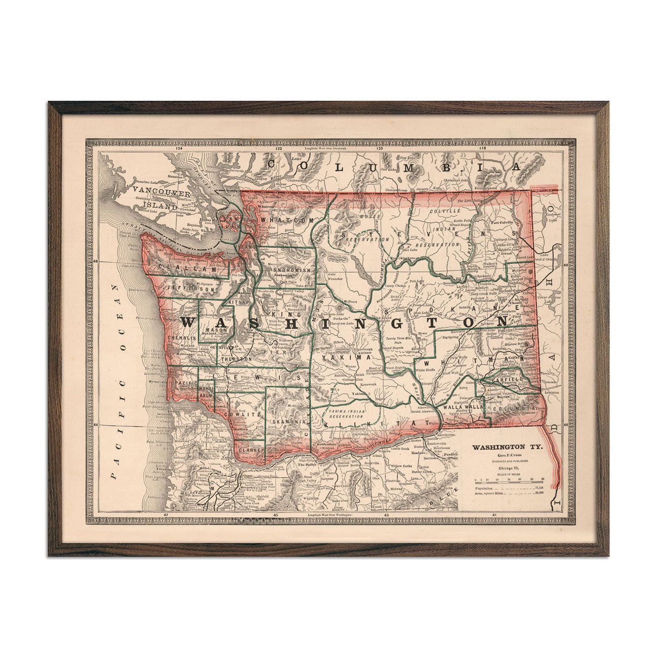 Vintage Map of Washington 1883