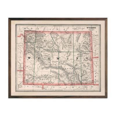 Vintage Map of Wyoming 1883