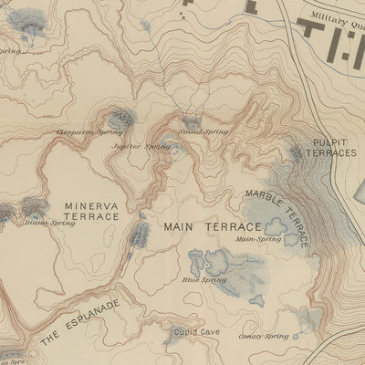 1904 Yellowstone Topographic Map of Mammoth Springs and Travertine Terraces