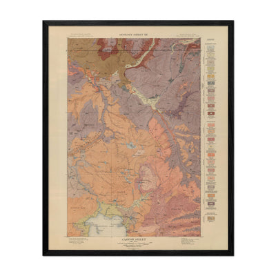 1904 Yellowstone Geologic Map of Canyon Section