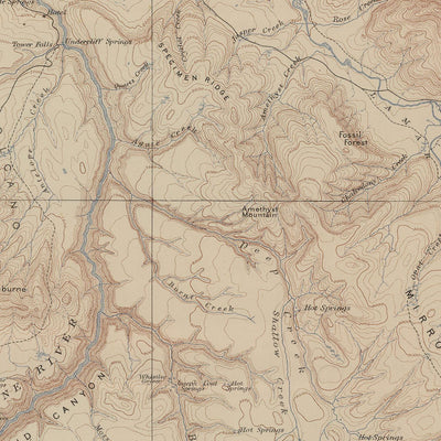 1904 Yellowstone Topographic Map of Canyon Section