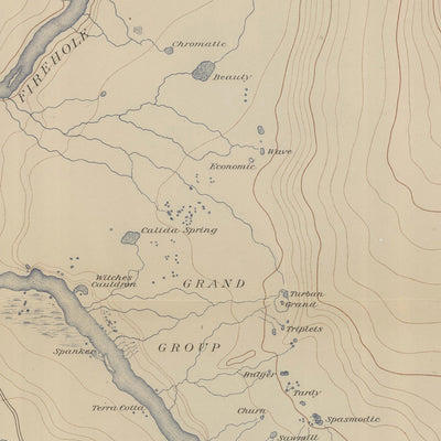 1904 Yellowstone Topographic Map of Central Upper Geyser Basin